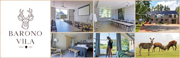 Konferencijų salės mokymams, seminarams, motyvaciniai renginiai Anykščiuose, Anykščių raj. Barono Vila.